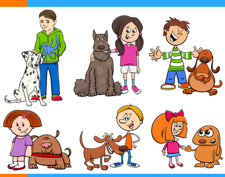 Cartoon Illustration of Children with Dog Animals Characters Set