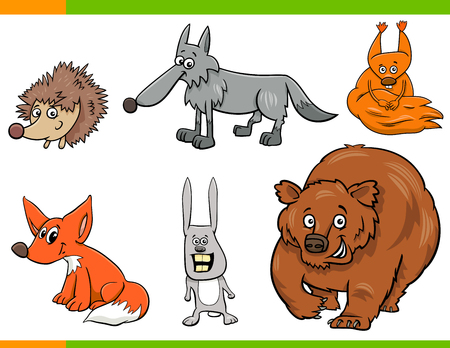 Cartoon Illustration of Funny Wild Animal Characters Set