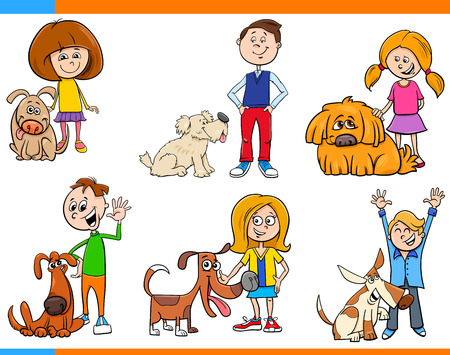 Cartoon Illustration of Children with Dog Characters Set
