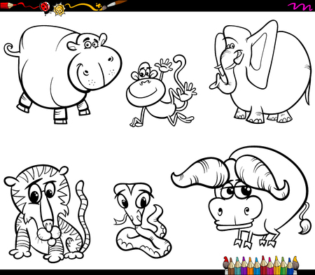Libro para colorear en blanco y negro Ilustración de dibujos animados de la colección de personajes de animales