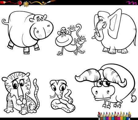 Schwarz-Weiß-Malbuch Cartoon Illustration von Tierfiguren Sammlung
