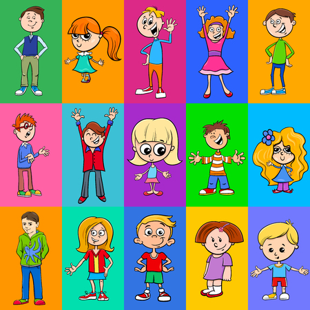 Cartoon Illustration of Pattern or Decorative Paper Design with Children Characters
