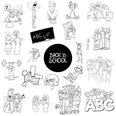 Black and White Cartoon Illustration of School and Education Characters and Situations Large Set Illusztráció