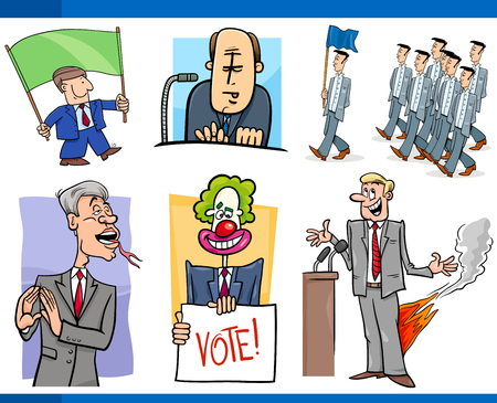 Set of Humorous Cartoon Concept Illustrations of Politics and Politicians