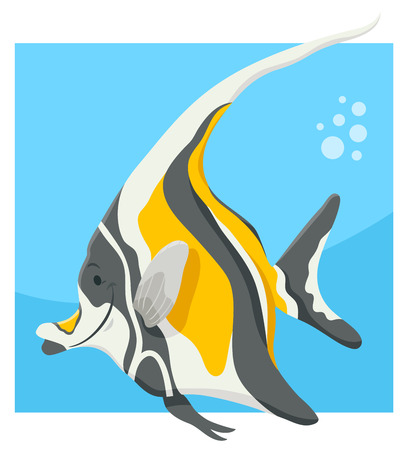 Cartoon Illustration of Funny Fish Sea Animal Character