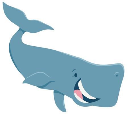 Cartoon Illustration of Happy Whale Sea Animal Character