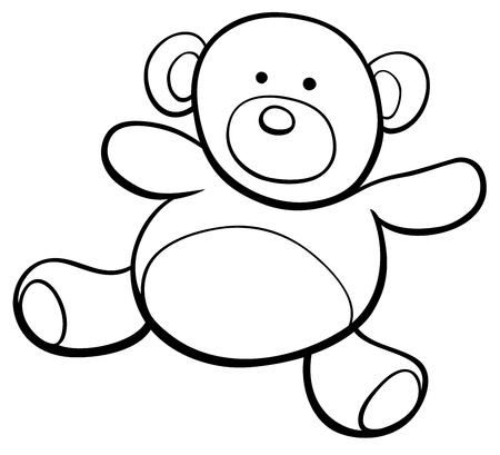 Ilustración caricatura en blanco y negro de Teddy Bear Toy Clip Art Coloring Book