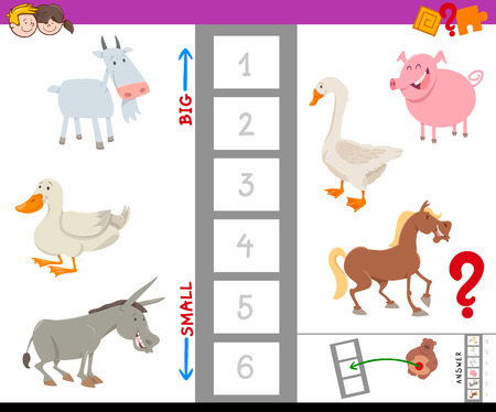 Cartoon Illustration of Educational Game of Finding the Largest and the Smallest Farm Animal with Funny Characters for Children