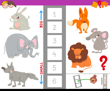 Cartoon Illustration of Educational Game of Finding the Largest and the Smallest Animal with Cute Characters for Children 向量圖像