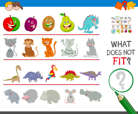 Cartoon Illustration of Finding Picture that does not Fit in a Row Activity Game for Children Ilustración de vector