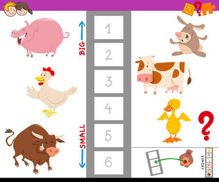 Cartoon Illustration of Educational Game of Finding the Largest and the Smallest Farm Animal with Cute Characters for Children