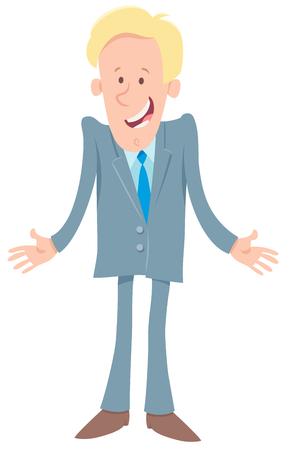 Cartoon Illustration of Businessman or Man at Work Character Illustration