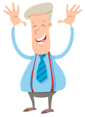 Cartoon Illustration of Happy Businessman or Man in Suit Character