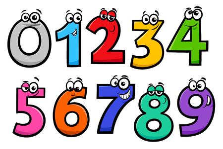 Illustrations de dessins animés éducatifs de jeu de caractères de nombres de base
