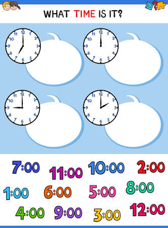 Cartoon Illustrations of Telling Time Educational Worksheet with Clock Face for Children