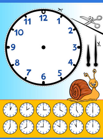 Cartoon Illustrations of Clock Face Telling Time Educational Worksheet for Children 向量圖像