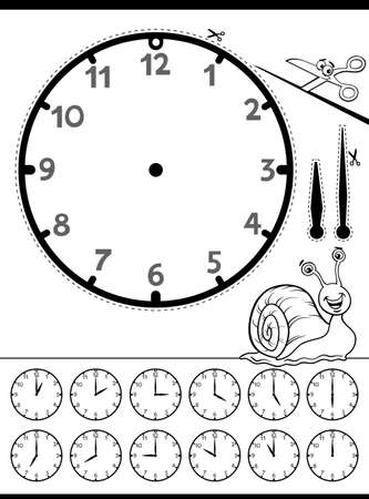 Black and White Cartoon Illustrations of Clock Face Telling Time Educational Worksheet for Children