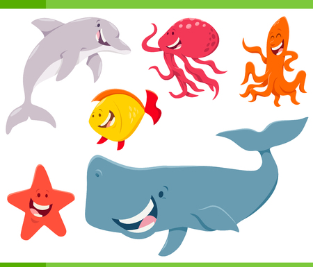 Cartoon Illustration of Funny Sea Life Animal Characters Set