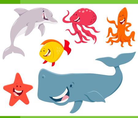 Cartoon Illustration of Funny Sea Life Animal Characters Set