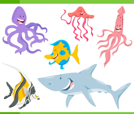 Cartoon Illustration of Funny Marine Life Animal Characters Set