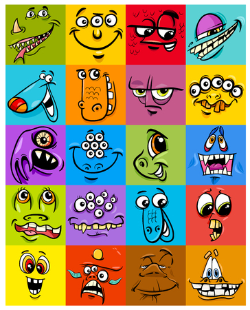 Cartoon Illustration of Monsters Fantasy Characters Faces Set or Packing Paper Design