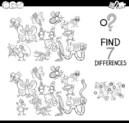 Black and White Cartoon Illustration of Finding Seven Differences Between Pictures Educational Game for Children with Insects Animal Characters Coloring Book 矢量图像