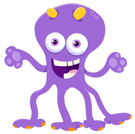 Cartoon Illustration of Funny Monster or Fantasy Character