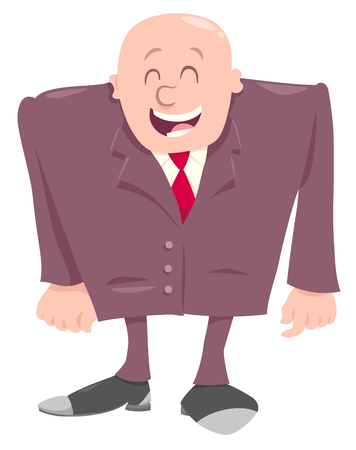 Cartoon Illustration of Businessman or Manager in Suit or Happy Boss Character Illustration