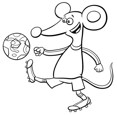 Black and White Cartoon Illustrations of Mouse Football or Soccer Player Character with Ball Coloring Book