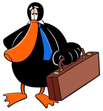 Cartoon-Illustration von Enten-Geschäftsmann-Tier-Charakter