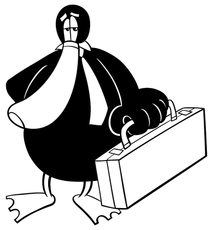 Black and White Cartoon Illustration of Duck Businessman Animal Character Coloring Book