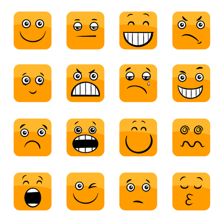Cartoon Illustration of Emoticon or Emotions Facial Expression Icons Set