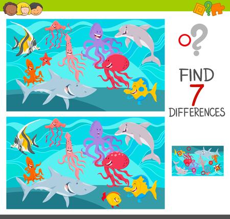 Ilustración de dibujos animados de encontrar siete diferencias entre imágenes Juego educativo para niños con personajes de Sea Life