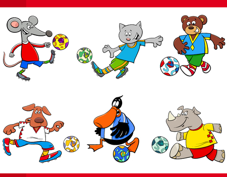 Cartoon Illustrations of Animal Football or Soccer Player Characters with Balls 向量圖像