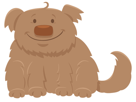 Cartoon Illustration of Happy Shaggy Dog Animal Character