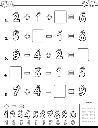 Black and White Cartoon Illustration of Educational Mathematical Calculation Puzzle Workbook for Children Coloring Book
