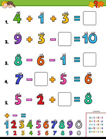 Cartoon Illustration of Educational Mathematical Calculation Workbook for Children 일러스트
