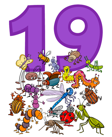 Cartoon Illustration of Number Nineteen and Insect Characters Group