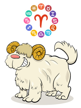 Cartoon Illustration of Aries Zodiac Sign with Funny Dog