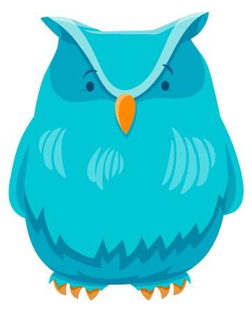 Cartoon Illustration of Owl Bird Funny Animal Character Illustration