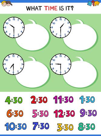 Illustrations de dessin animé de la feuille de travail éducative de dire l'heure avec le visage d'horloge pour des enfants