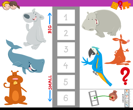 Cartoon Illustration of Educational Game of Finding the Largest and the Smallest Animal with Cute Characters for Kids