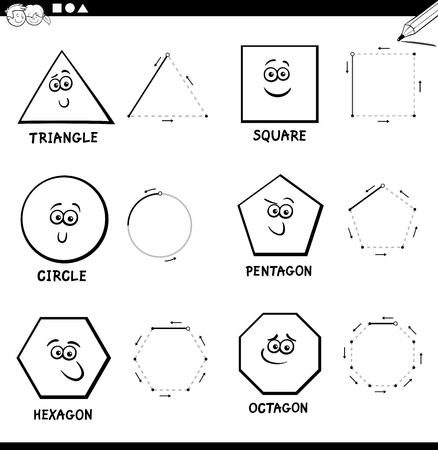 Black and White Educational Cartoon Illustration of Basic Geometric Shapes Drawing for Kids Coloring Book  イラスト・ベクター素材