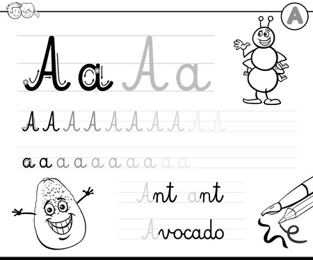 Black and White Cartoon Illustration of Writing Skills Practice with Letter A for Preschool and Elementary Age Children Color Book
