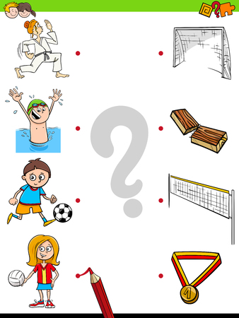 Cartoon Illustration of Educational Pictures Matching Game for Children with Kid Characters and their Sport Activities