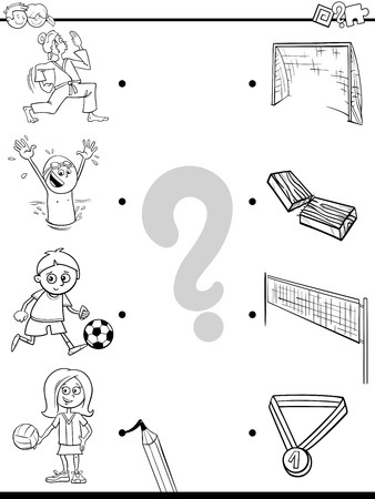 Black and White Cartoon Illustration of Educational Pictures Matching Game for Children with Kid Characters and their Sport Activities
