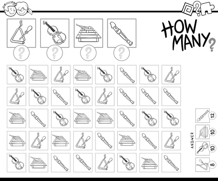 Black and White Cartoon Illustration of Educational How Many Counting Game for Children with Musical Instruments Coloring Book Standard-Bild - 108054858