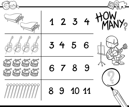 Black and White Cartoon Illustration of Educational How Many Counting Activity for Children with Musical Instruments Coloring Book