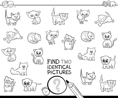 Black and White Cartoon Illustration of Finding Two Identical Pictures Educational Game for Kids with Kitten Characters Coloring Book