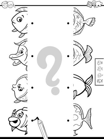 Schwarzweiss-Karikatur-Illustration des pädagogischen Spiels der passenden Bildhälften mit dem lustigen Fisch-Malbuch Vektorgrafik